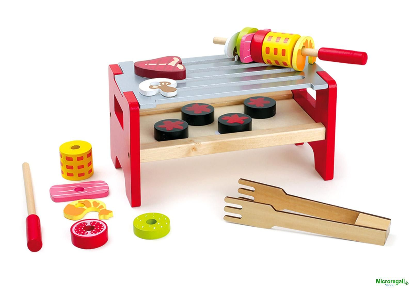 Tavolo Bambini ~ Giocattolo barbecue da tavola spiedo in legno cm 21x12x11 per