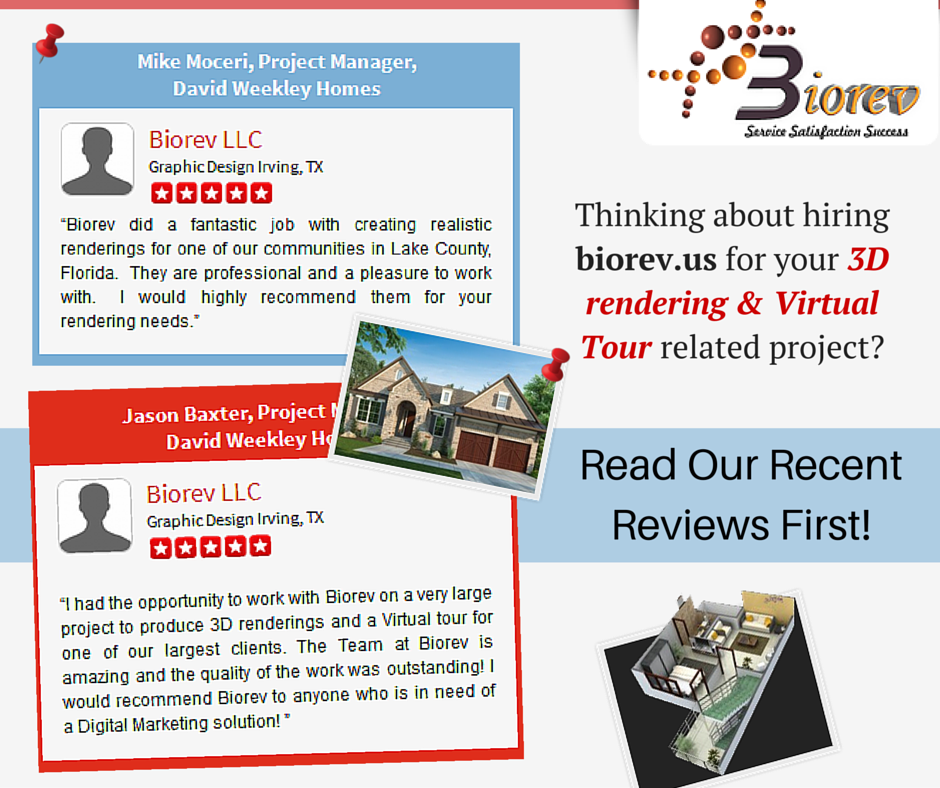 Thinking about hiring biorev.us for your 3D rendering & Virtual Tour related project? Read our recent reviews first!  We have been appreciated by our #clients, for excellent #qualitywork. We have succeeded in engraving positive mark on our clients mind.