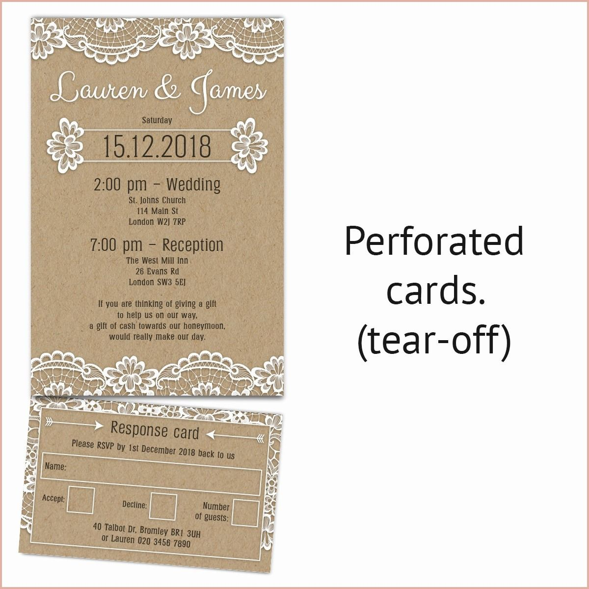 11 Great Tear Off Rsvp Wedding Invitations Perforated