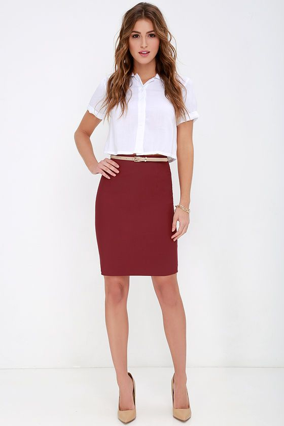 3a68b98702 Get the Memo Wine Red Pencil Skirt at Lulus.com! Pencil Skirt Outfits,
