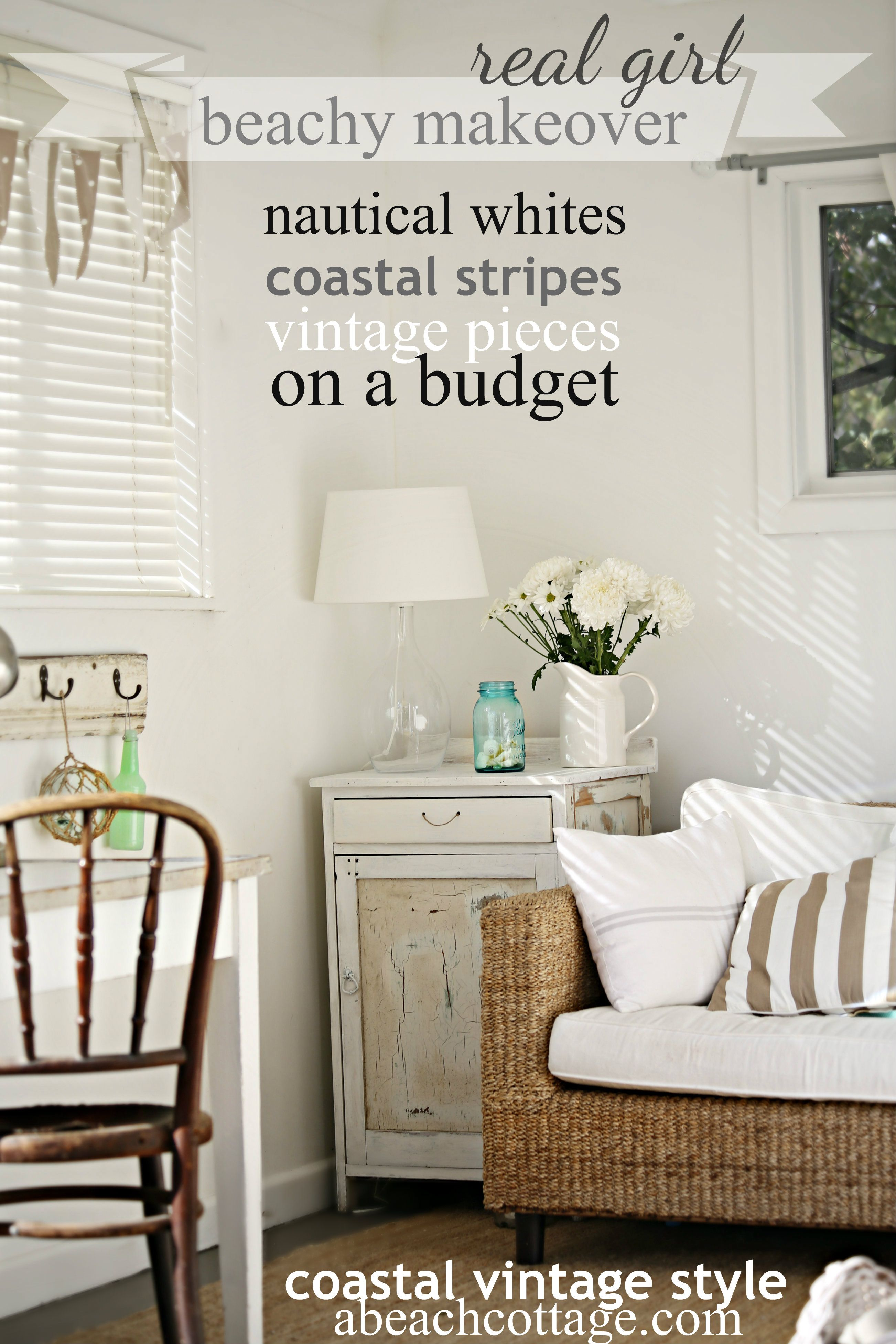 Beach cottage coastal nautical summer house makeover on a - Beach house furniture ideas ...