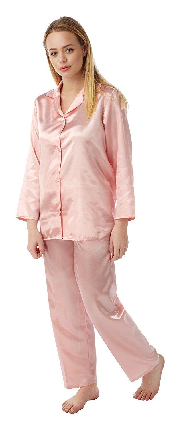 66cc50dcdb Ladies Satin Silk Pyjama Set Long Sleeve Silky Summer Pjs  Amazon.co.uk   Clothing