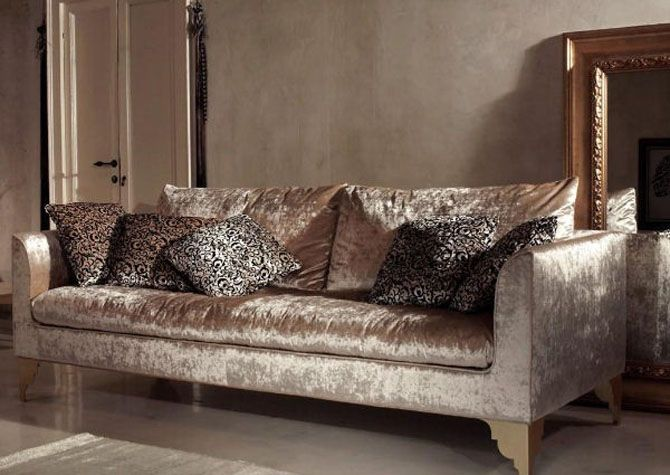 Old Hollywood Champaign Velvet Sofa Love Luxury Furniture