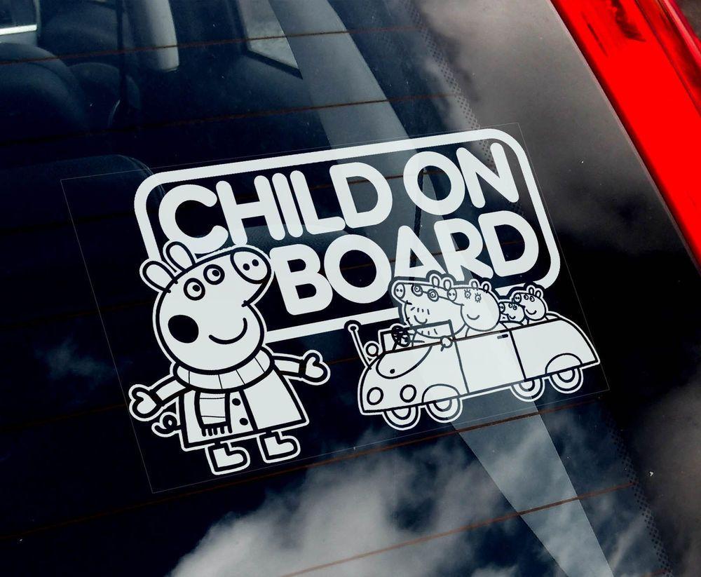 Car sticker design maker - Child On Board Peppa Pig Car Sticker Kids Pepper New