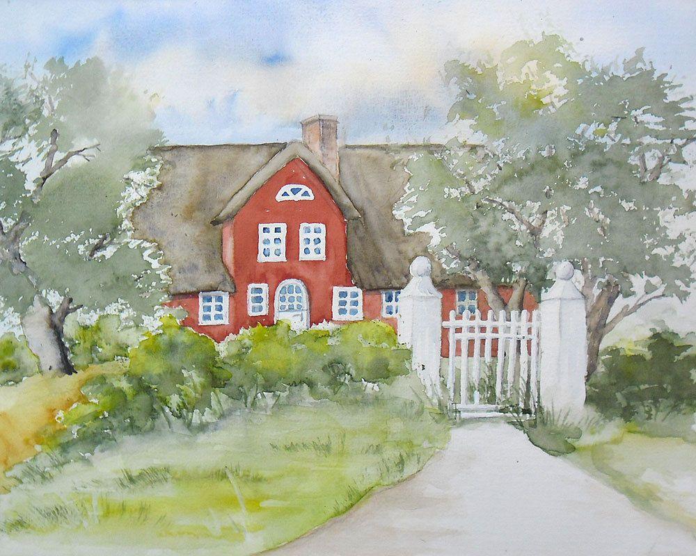 friesenhaus auf amrum  aquarell  original  24 x 30 cm