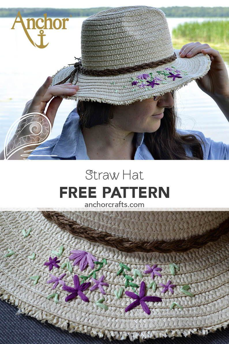 Straw hat with floral embroidery on the brim.