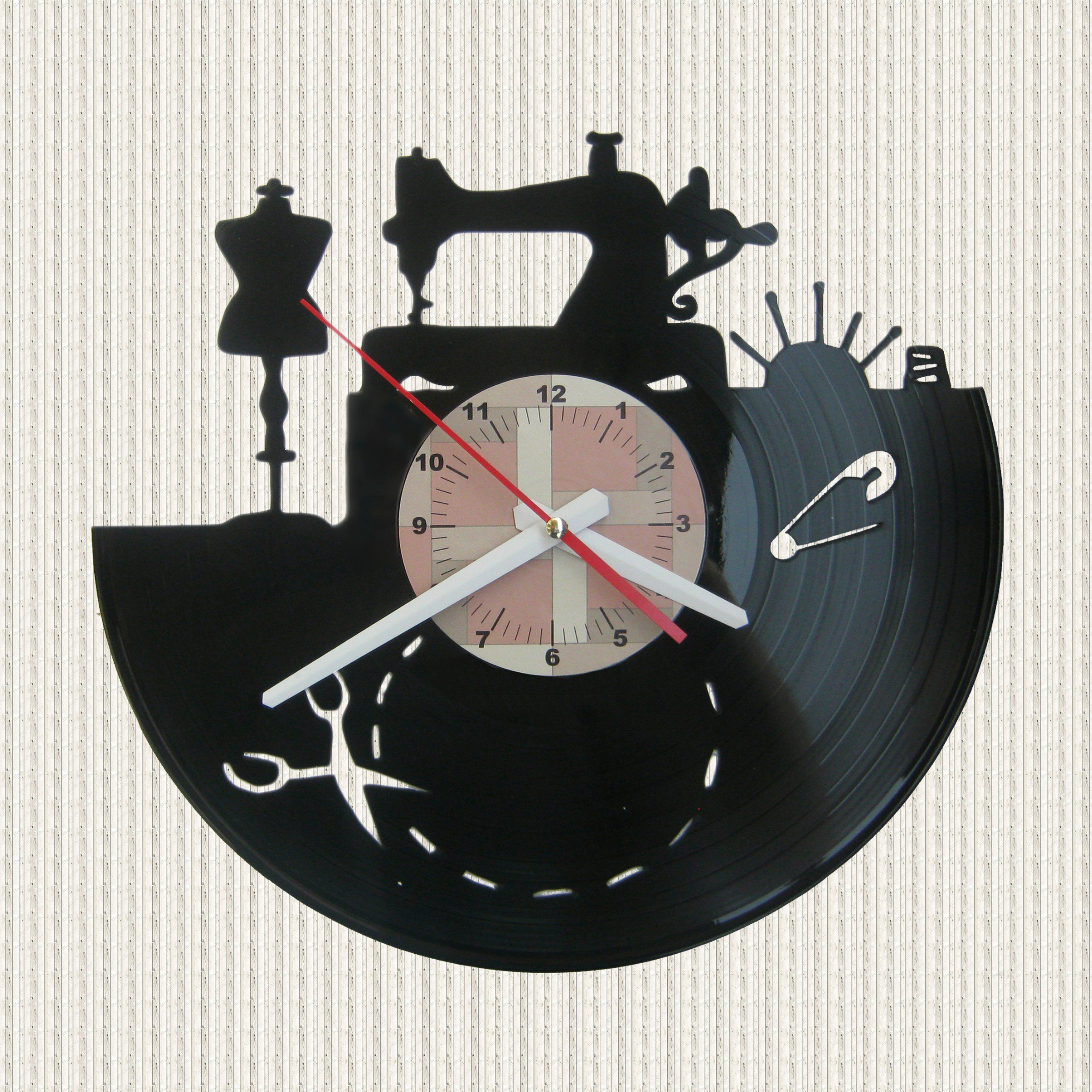 Sewing Wall Clock Sewing Machine Vinyl Wall Clock Sewing Room Wall Art Sewing Machine Wall Art Clock Wall Clock Room Wall Art