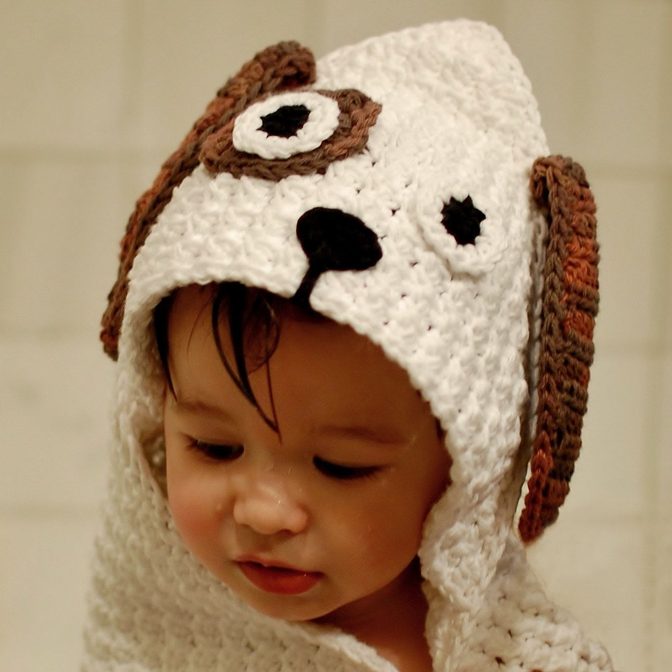 Crochet Pattern - Dog Hooded Baby Towel (also makes a great blanket ...