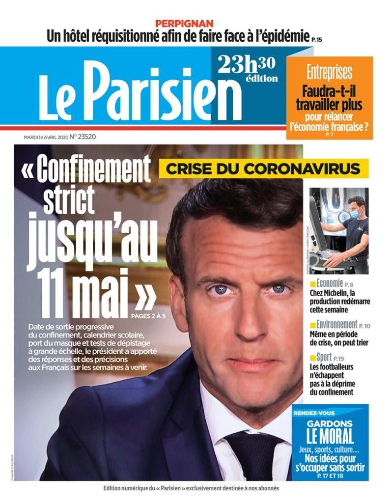 Couverture le Parisien Confinement strict jusqu'au 11 mai