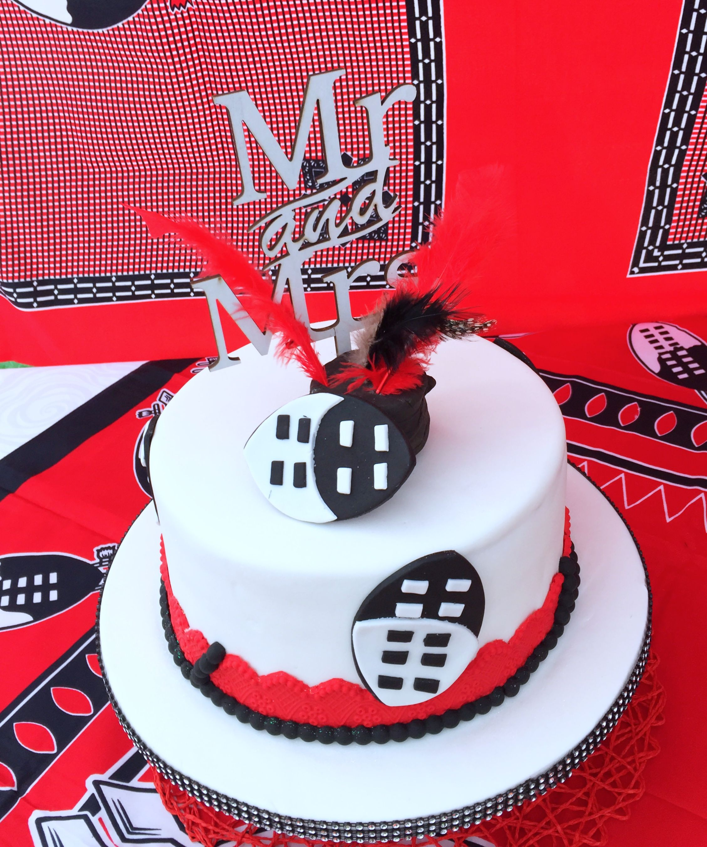 Red Black Swazi Traditional Wedding Cake At Shonga Events Cakes