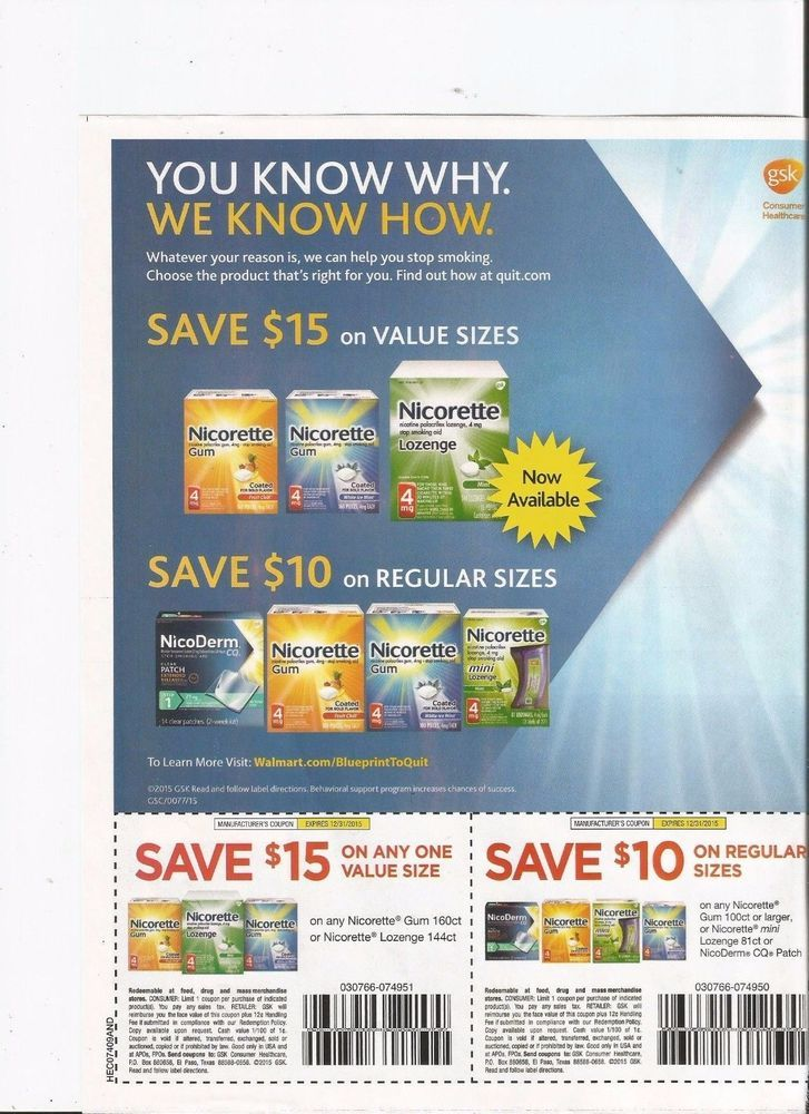 graphic about Nicorette Printable Coupon referred to as NICORETTE GUM OR LOZENGES $15 COUPON AND $10 NICORETTE GUM