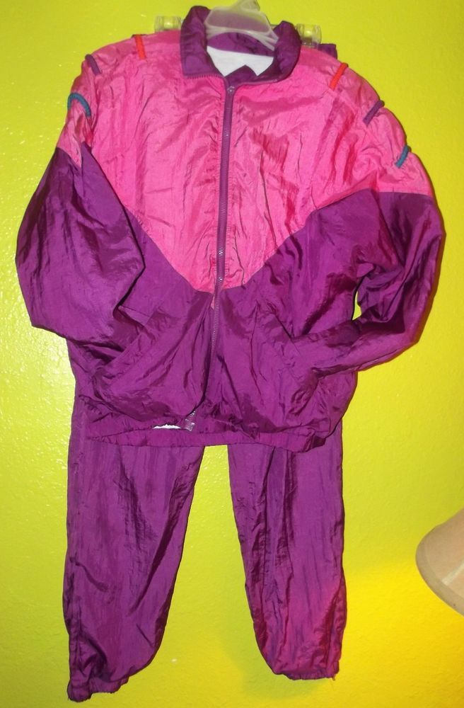 VINTAGE WOMENS 80 s 90 s TRACK JOGGING SUIT SIZE S SMALL PURPLE PINK NYLON   RockCreekCasuals  TracksuitsSweats f2a3c685d100
