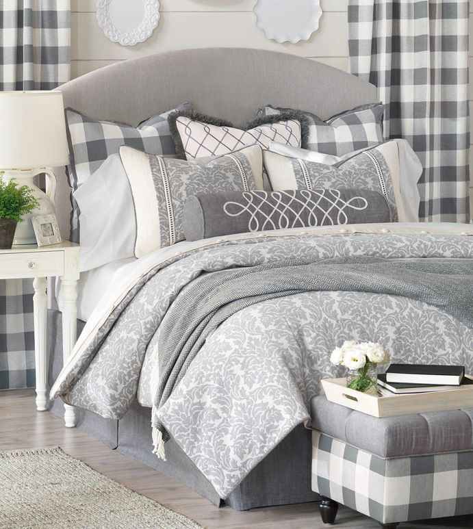 Damask Style Bedroom: Blue Farmhouse Bedding,country Bedding,gray