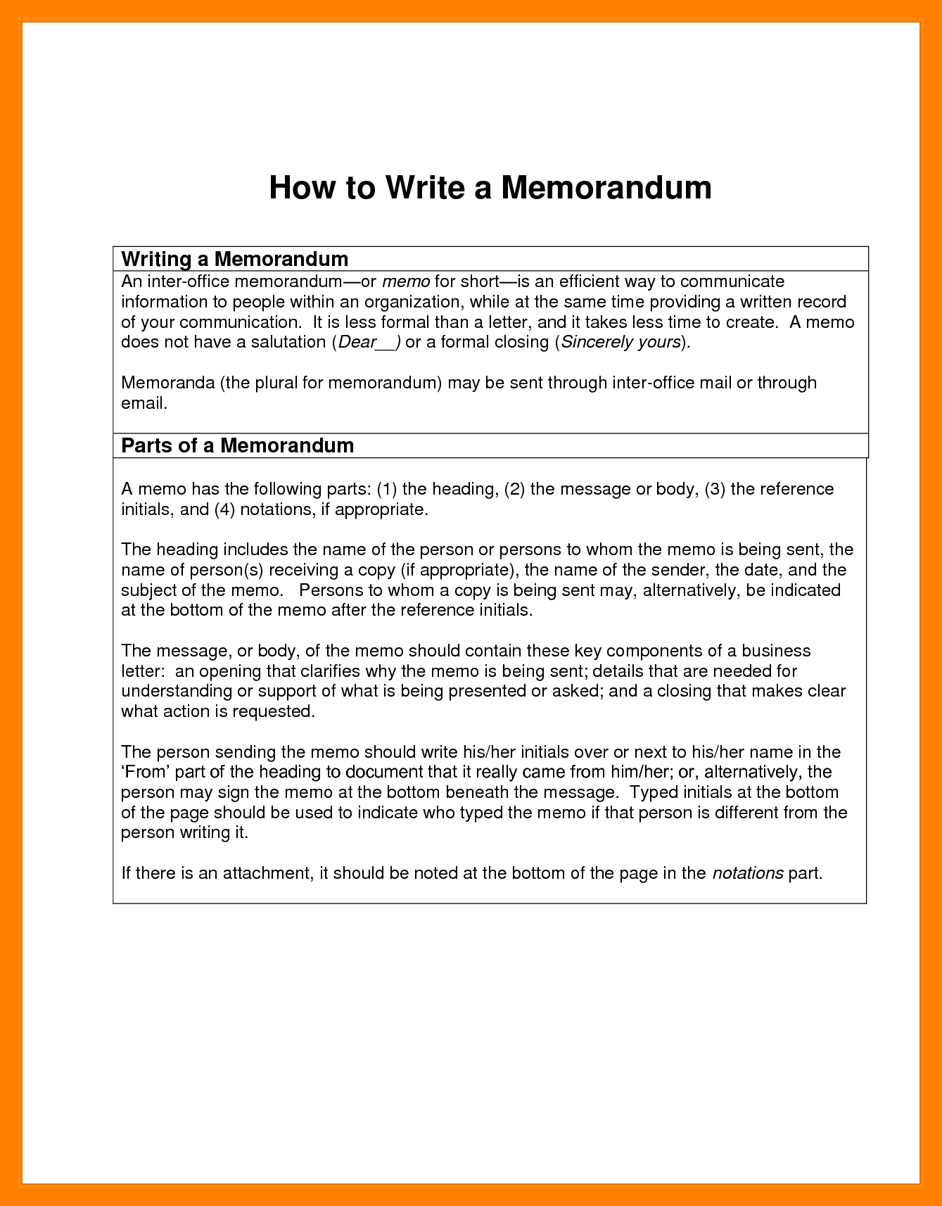 parts memorandum resumed job write memo how
