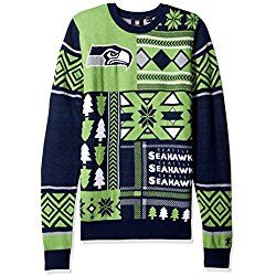 nfl seattle seahawks patches ugly sweater green small - Seahawks Christmas Sweater