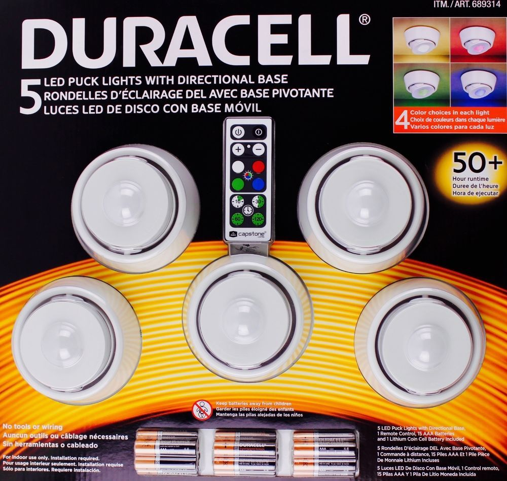 Costco Led Light Strip Mesmerizing Duracell 5 Led Puck Lights Directional Base Remote Control Wireless Decorating Inspiration