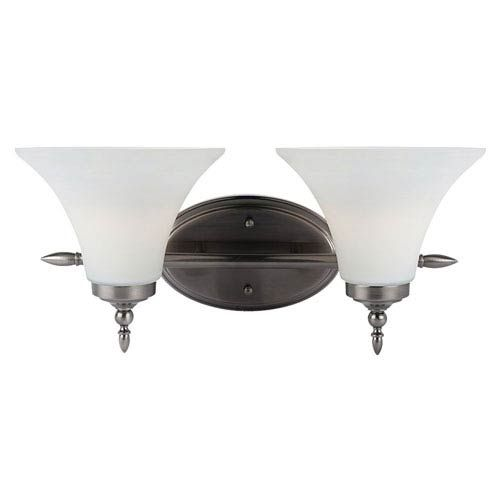 Photo of 251 First Russell two-light basin lamp made of antique brushed nickel – brushed, temporary   Bellacor