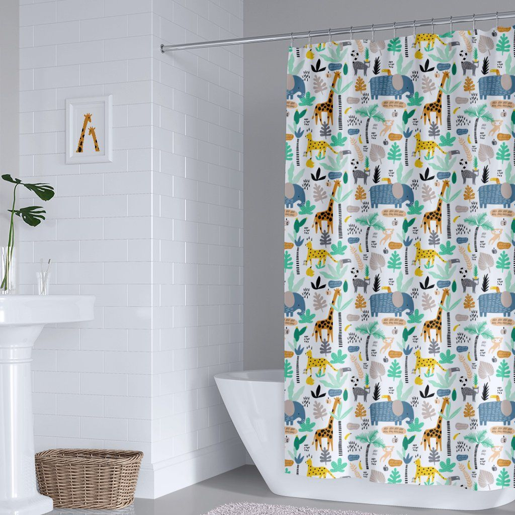 Jungle Animals Tropical Kids Shower Curtain Also Available In