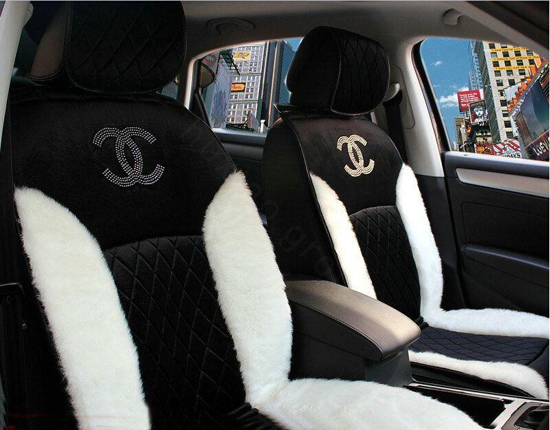 Buy Wholesale Luxury Diamond Chanel Universal Automobile Velvet Wool Car Seat Cover Cushion 10pcs Sets