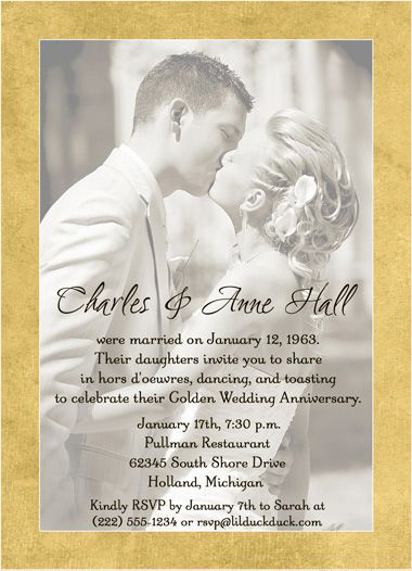 50th Wedding Anniversary Invitation Golden Photo 50th