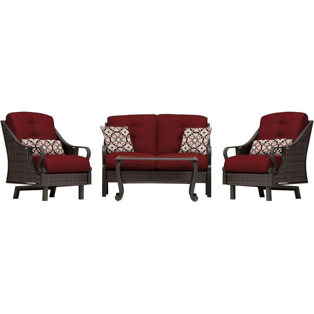 Hanover Ventura 4 Piece All Weather Wicker Patio Seating Set With