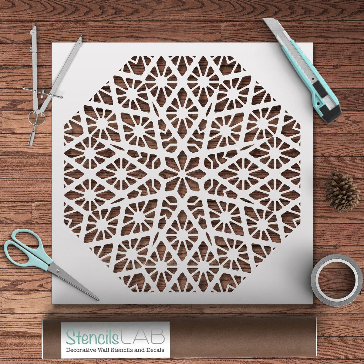 Geometric stencil for diy diy wall art pinterest geometric mandala wall stencil geometric stencil for diy reusable stencil amipublicfo Images