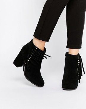 New Look Black Studded Fringe Heeled Boots