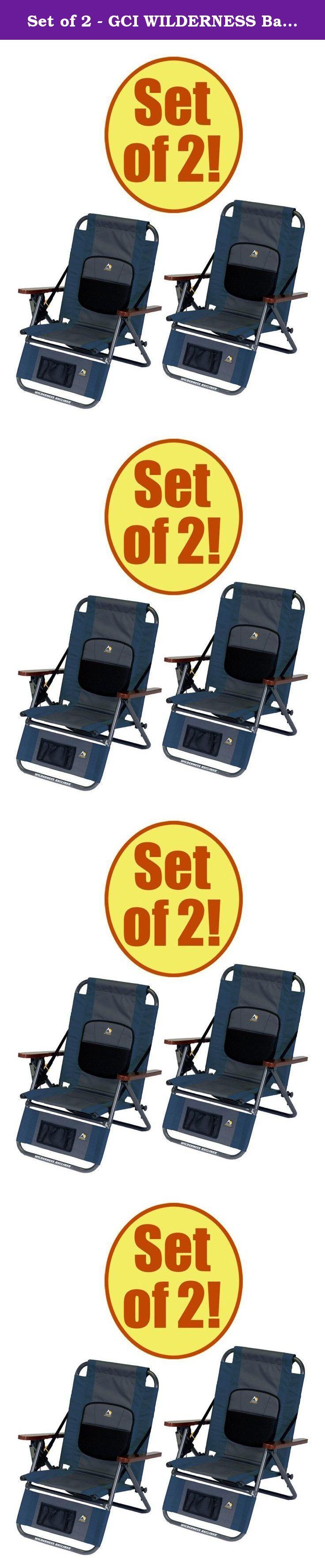 03eb6d290d Set of 2 - GCI WILDERNESS Backpack Recliner. Recliner Specs  25 x 23 x