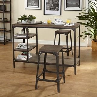 Simple Living Scholar Vintage Industrial 3 Piece Counter Height Dining Set  | Overstock.com Shopping   The Best Deals On Pub Sets