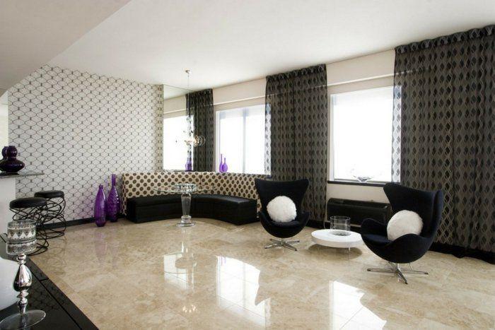 Wohnzimmer Einrichten Ideen Schwarze Möbel Weiße Dekokissen Gardinen