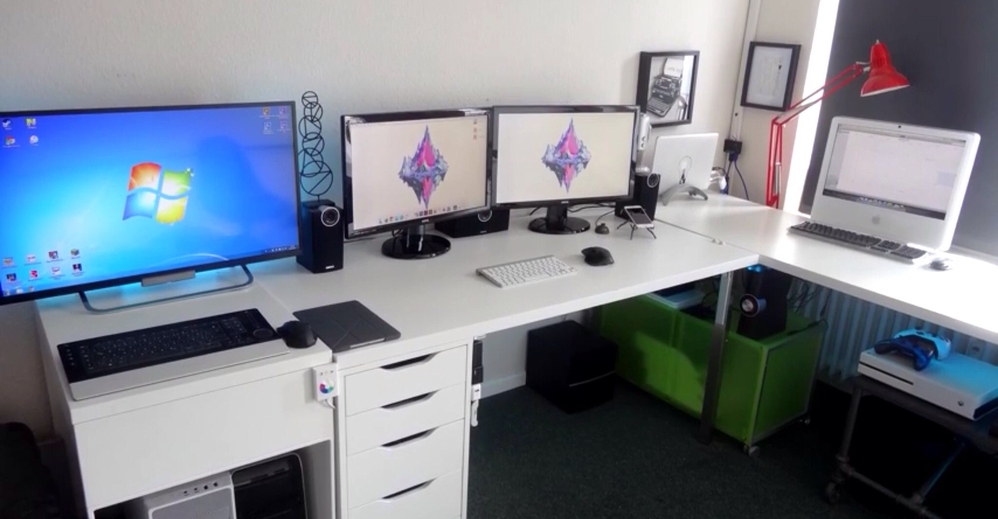 White Double Monitor Gaming Productive Setup With Tv And Laptop Office Desk Setup Gaming Setup
