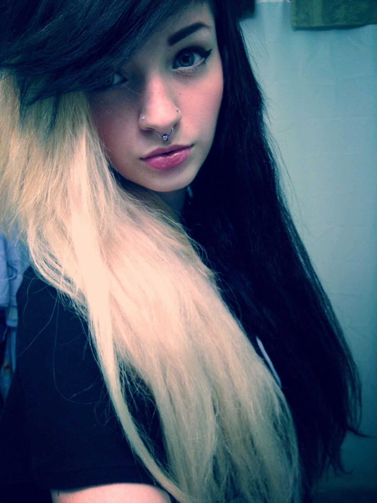 Pin By Amber Harrison On Girls Hair Styles Scene Hair Black To Blonde Hair