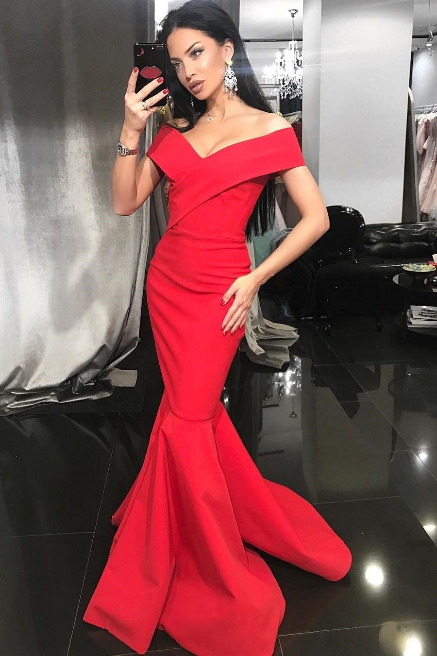 Mermaid offtheshoulder sweep train red prom dress with pleats