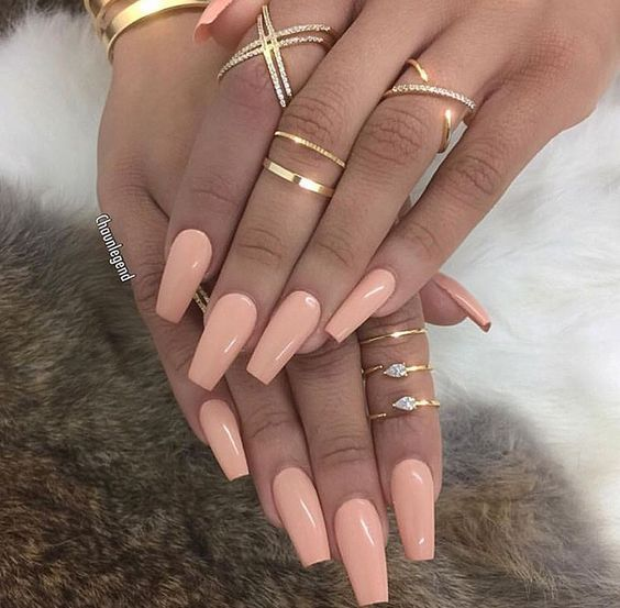 73 Peach Coral Coffin Almond Stiletto Acrylic Nail Design For Short