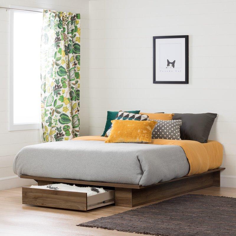 Best Modern Farmhouse Walnut Full Queen Platform Bed Holland 640 x 480