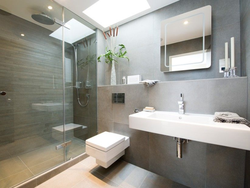 i like the walls and the ceiling light well and the shelf above the sink not keen on the mirror or toilet holland park mews contemporary bathroom - Toilet Design Ideas