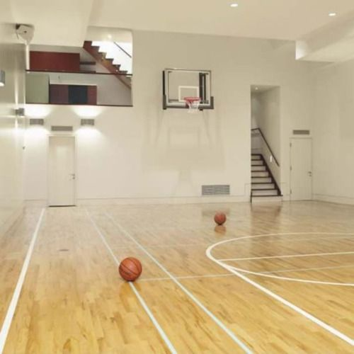 Indoor Basketball Court At Home Joe Would Love This For Our New House Home Basketball Court Indoor Basketball Basketball Room