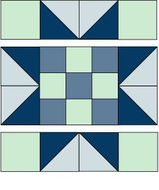 Evening Star Quilt Block Pattern With a Nine-Patch Center #starquiltblocks