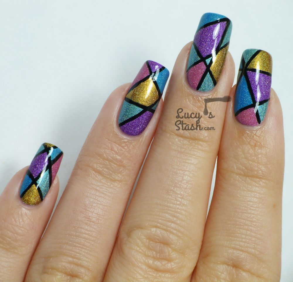 Abstract holo nail art design with tutorial holo nails