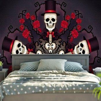 Halloween Floral Skull Bedroom Decor Tapestry | Skull Bedroom, Floral Skull  And Tapestry