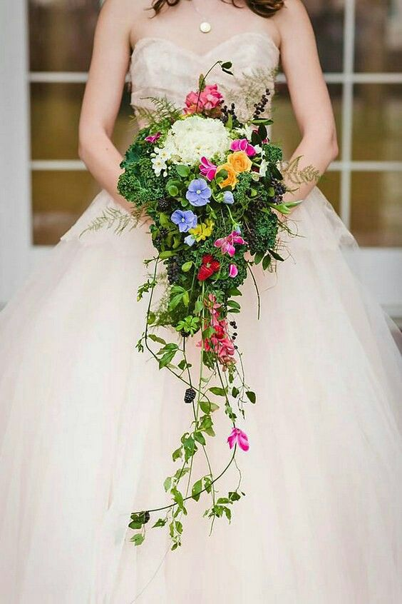 Multi Colored Cascading Bridal Bouquet Cascading Wedding
