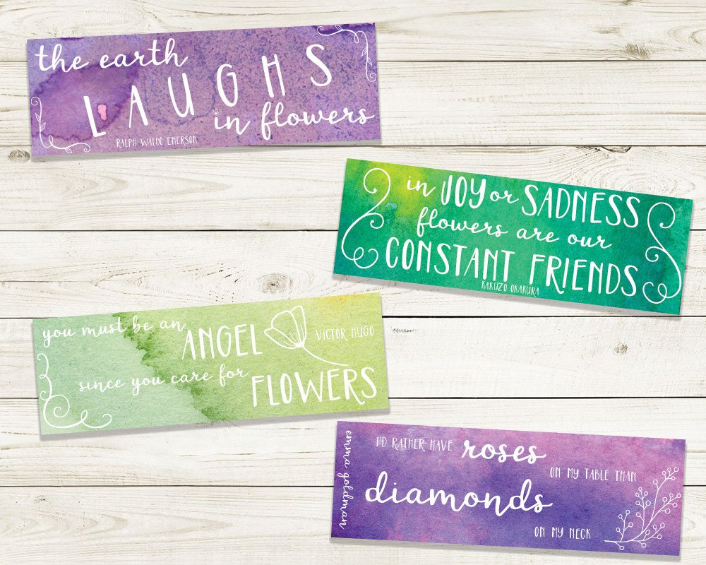 watercolor bookmarks - set of four printable bookmarks - instant