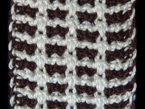 Tunisian Crochet - point in two colors (In Spanish; but, you can learn this pattern by watching the video... Deb)