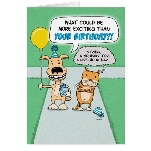 Funny Birthday Card Happy Dog And Grumpy Cat