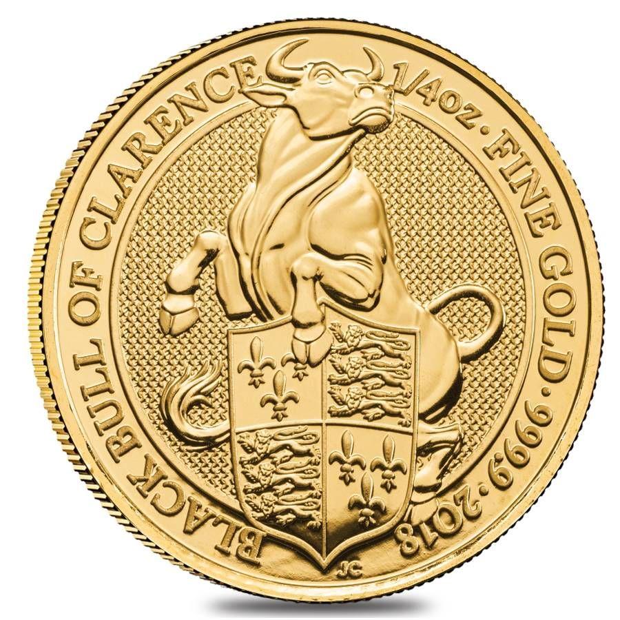 2018 1 4 Oz Gold Queen S Beasts Black Bull Gold Bullion Coins Bullion Coins Gold Coins