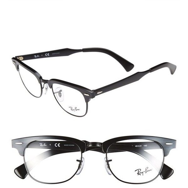 490cce7c3b ... purchase ray ban clubmaster 49mm optical glasses featuring polyvore  fashion accessories eyewear eyeglasses matte black black