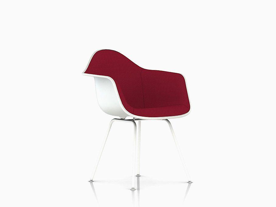 Eames molded plastic armchair 4leg base upholstered