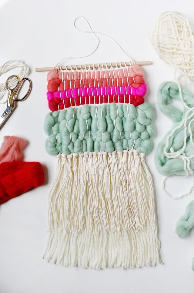 Weaving With Wool Roving Craftiness Pinterest Weaving Diy And