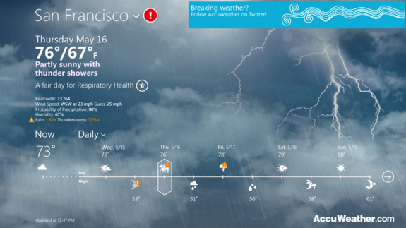 AccuWeather Metro App for Windows 8 (With images) App