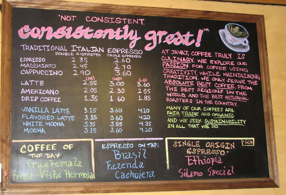 17 Best images about Coffee Menu Boards on Pinterest | Coffee ...